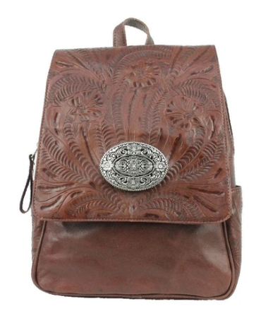 American West Lariats & Lace Leather Backpack Dark Brown