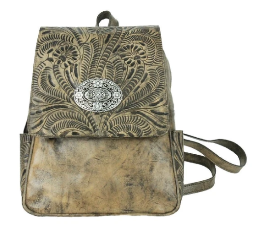 American West Lariats & Lace Leather Backpack Distressed Charcoal