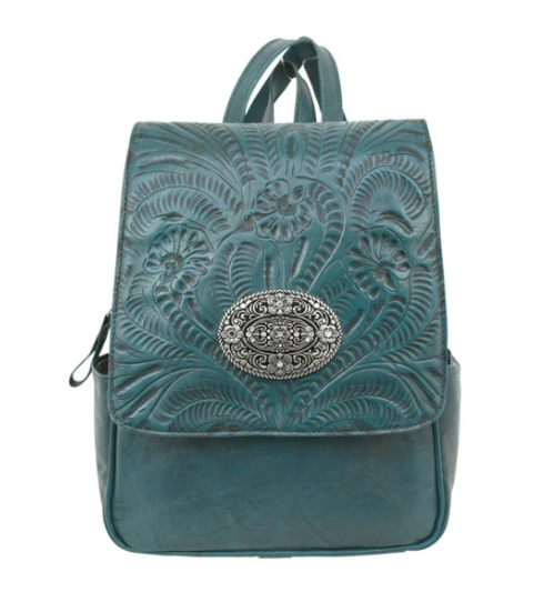 American West Lariats & Lace Leather Backpack Dark Turquoise