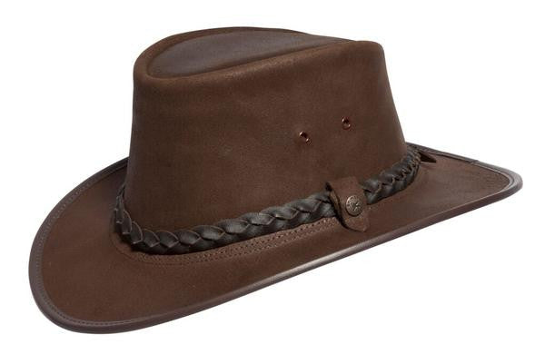 Conner Handmade Hats Stockman Oily Leather Brown Side