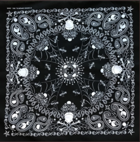 Rockmount Ranch Wear Bandana Black Skull Print