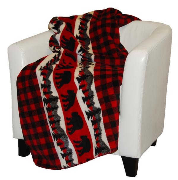 Denali Blankets Bear Plaid Border on Chair