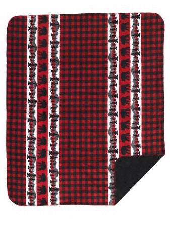 Denali Blanket Bear Plaid Border Front 60x72