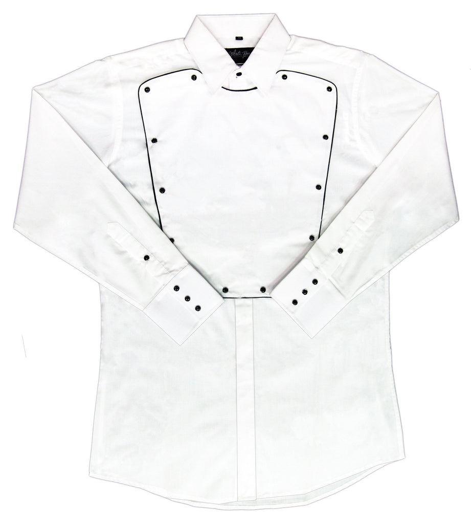 White Horse Apparel Men's Western Bib Shirt White