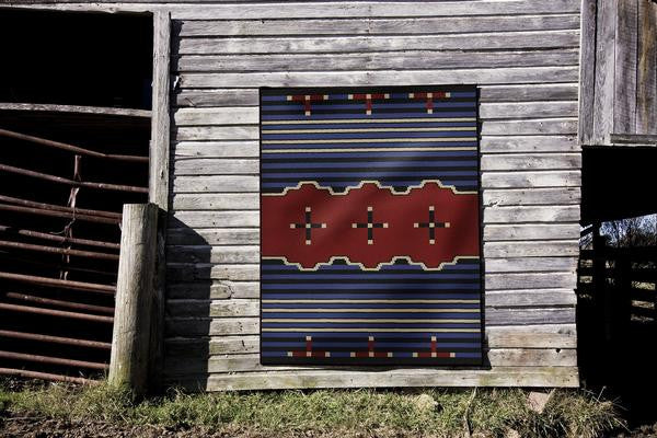 American Dakota Rug Big Chief Rectangles Blue Display