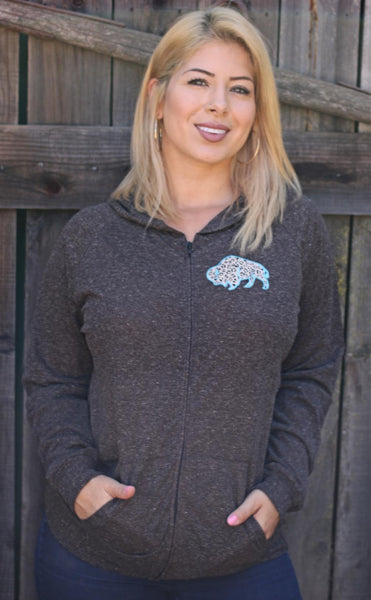 Original Cowgirl Clothing Blue Leopard Spots Buffalo Hoodie