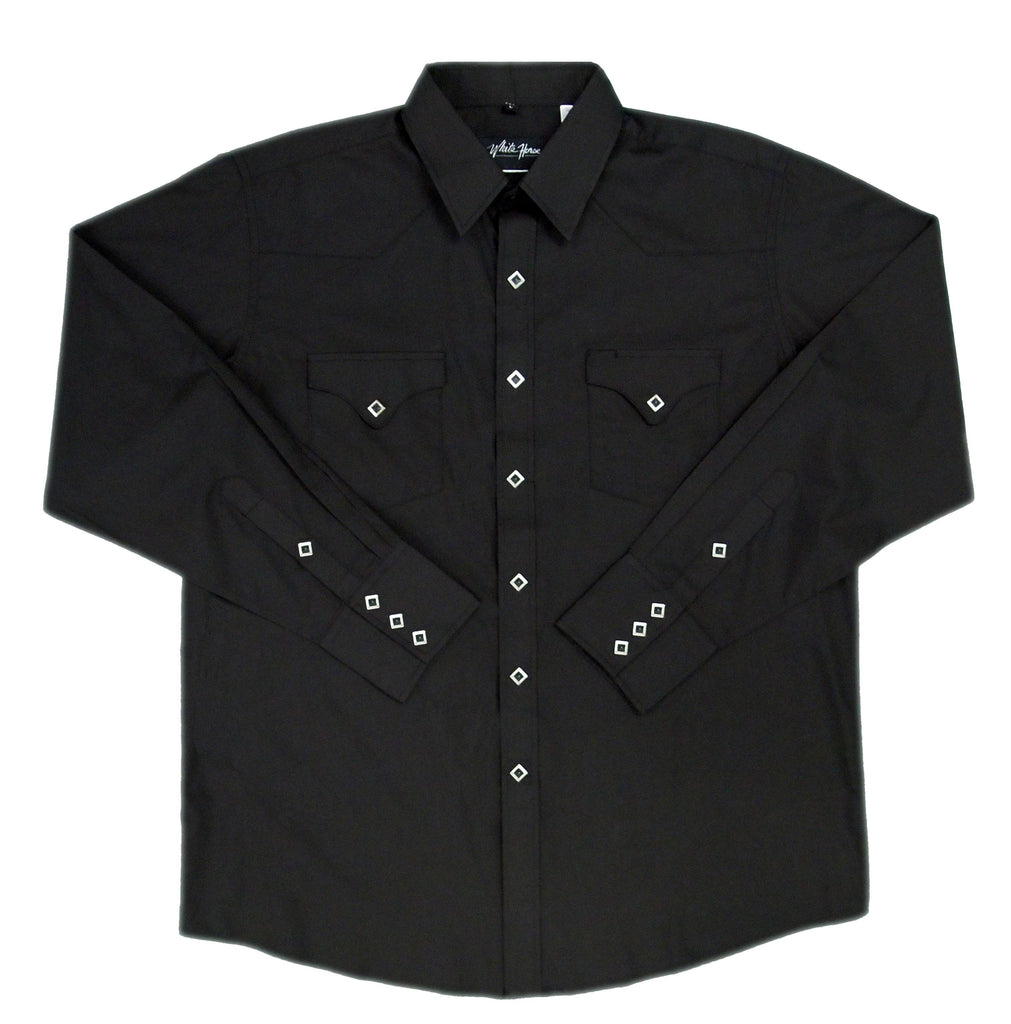 White Horse Apparel Men's Western Shirt Solid with Flap Pockets Black