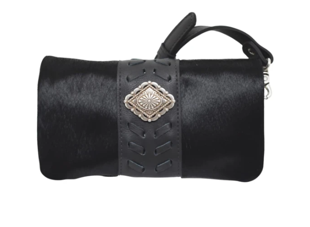 American West Grab and Go Foldover Crossbody Black Hair on Hide