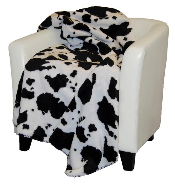 Denali Blankets Black and White Cow Print Throw Blanket on Chair