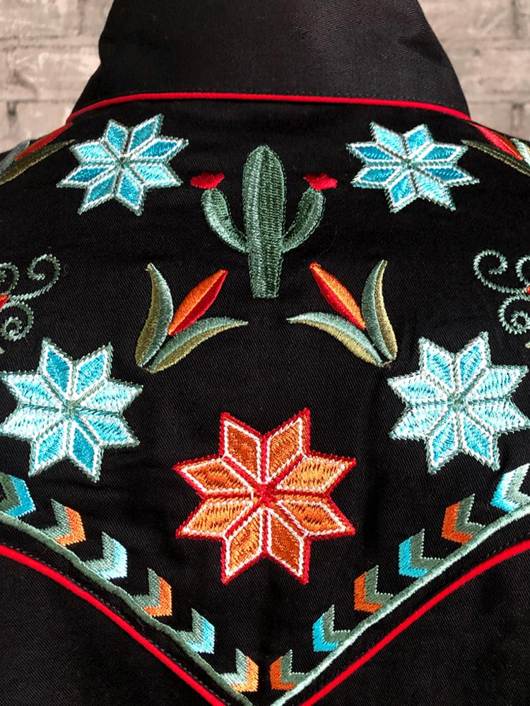 Rockmount Ranch Wear Men's Agave Cactus Foral Embroidery Black Back