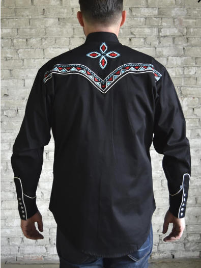 Rockmount Ranch Wear Men's Embroidered Shirt Native Inspired #176860 Front