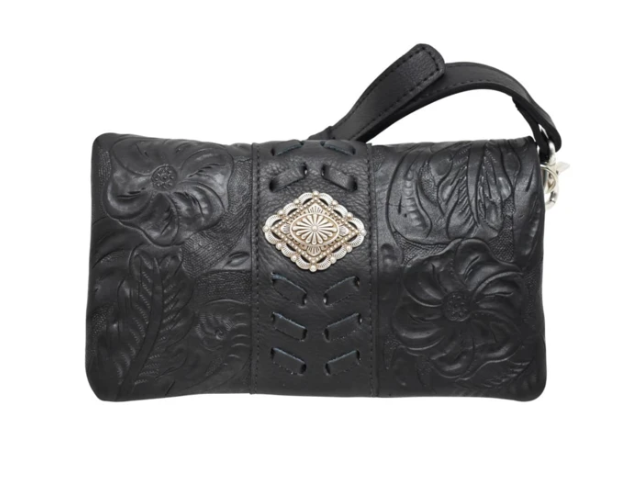 American West Grab and Go Foldover Crossbody Black