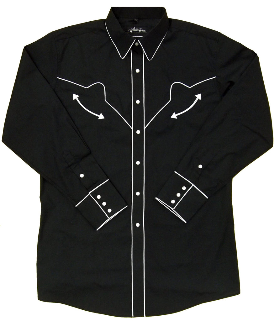 White Horse Apparel Men's Western Shirt Black with White Piping Front