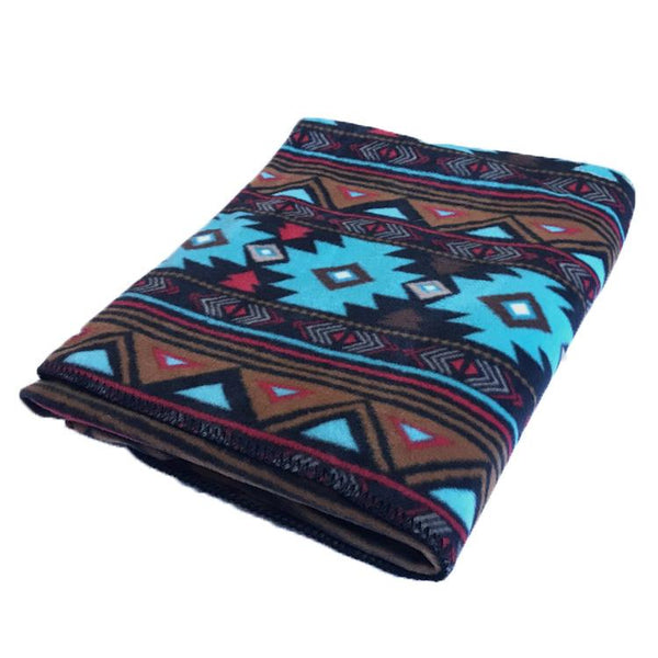 Rockmount Ranch Wear Home Fleece Blanket Native American Inspired Turquoise