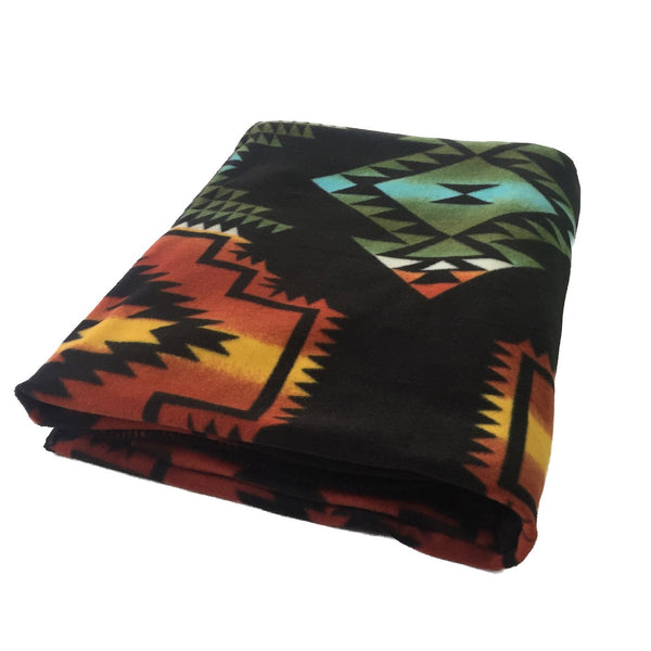 Rockmount Ranch Wear Home Fleece Blanket Native American Inspired Black & Turquoise