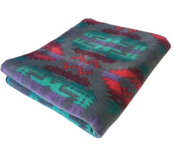Rockmount Ranch Wear Fleece Blanket Grey Turquoise Red