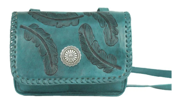 American West Sacred Bird Crossbody Flap Bag Distressed Charcoal Brown and Turquoise Front