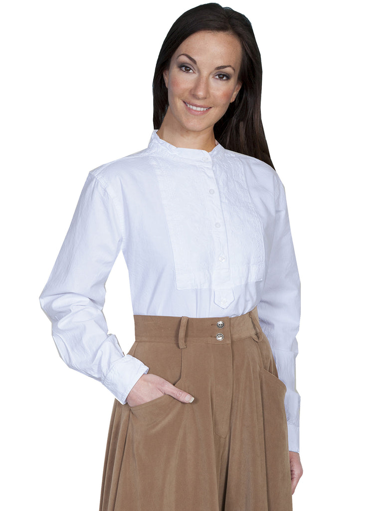 Scully Ladies Rangewear Blouse with Embroidered Bib White Front