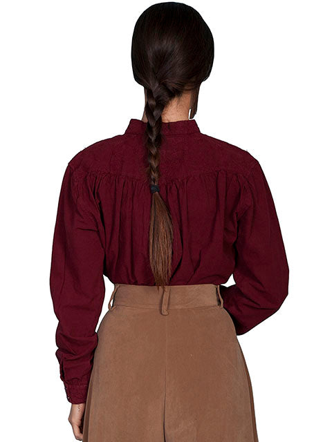 Scully Ladies Rangewear Old West Collection Pullover Bib Shirt Burgundy Back