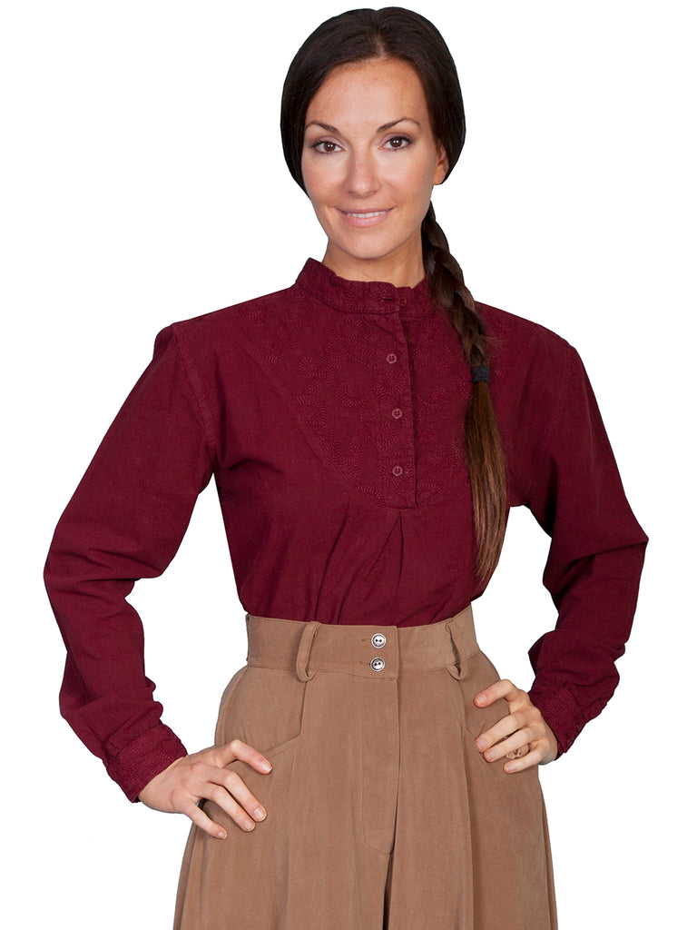 Scully Ladies Rangewear Old West Collection Pullover Bib Shirt Burgundy