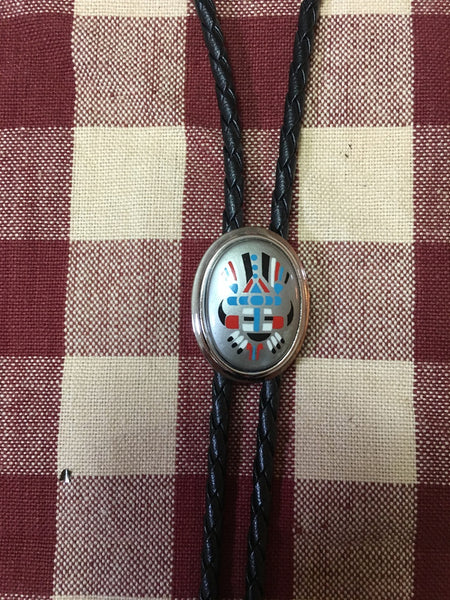 Rockmount Ranch Wear Bolo Kachina Inspired Design on Black Cord, Silver Tone Tips
