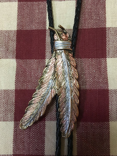 Rockmount Ranch Wear Bolo Necktie Tri-Color Feathers