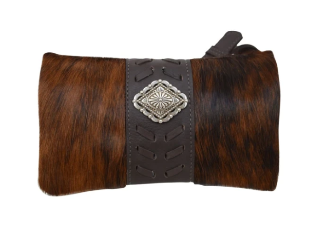 American West Grab and Go Foldover Crossbody Brindle Hair on Hide