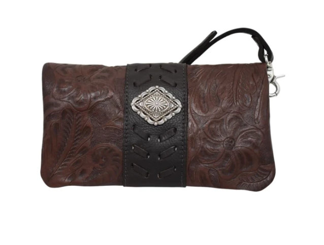 American West Grab and Go Foldover Crossbody Brown