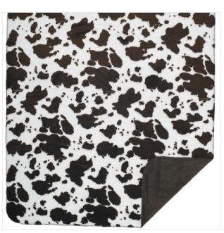 Denali Blankets Brown and White Cow Print Throw Blanket Front