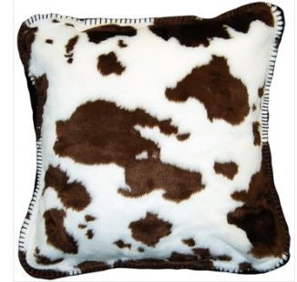 Denali Blankets Brown and White Cow Print Pillow