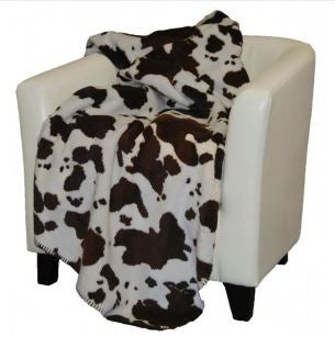 Denali Blankets Brown and White Cow Print Throw Blanket on Chair