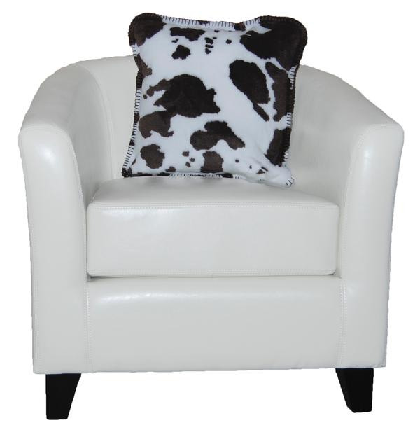 Denali Blankets Brown and White Cow Print Pillow on Chair