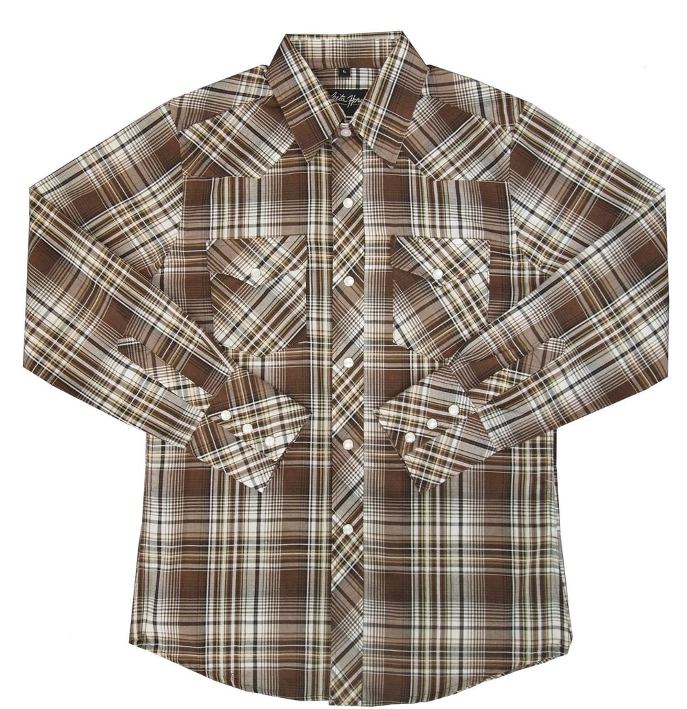 White Horse Apparel Children's Casual Plaid Brown/Tan