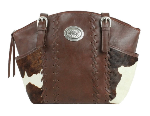 American West Handag Pendleton Pony Collection: Leather Zip Top Bucket Tote