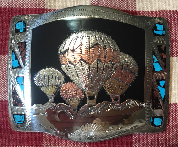 German Silver Trophy Buckle Hot Air Balloons