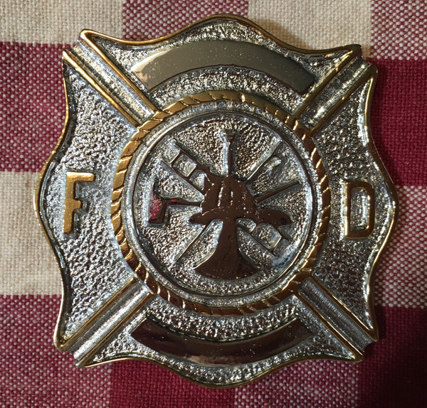 Trophy Buckle Fire Department Silver and Gold