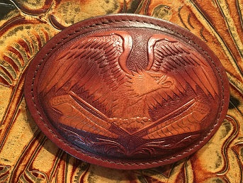 Trophy Leather Buckle Oval with Eagle