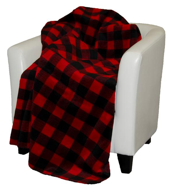 Denali Blankets Buffalo Plaid Throw Blanket Red on Chair