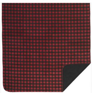Denali Red Black Plaid Blanket on Model