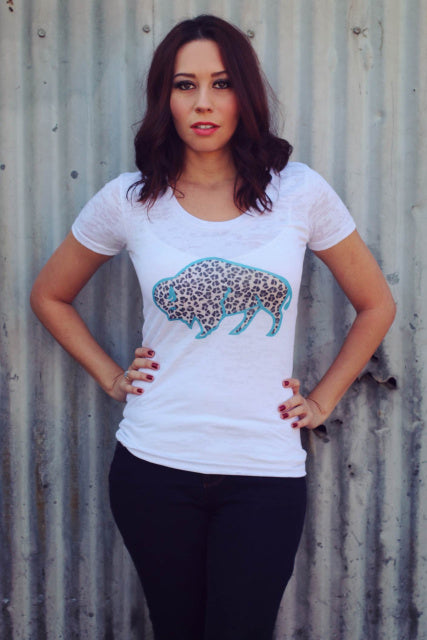 Original Cowgirl Clothing T-Shirt Leopard Spots Buffalo Front