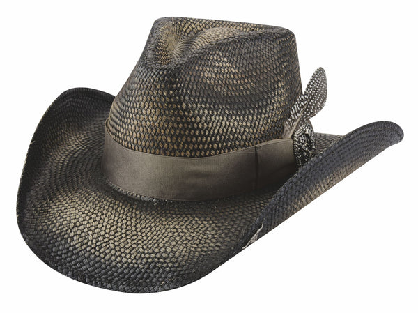 Bullhide Hats Distressed Black Straw Make Me Smile Front #5005040