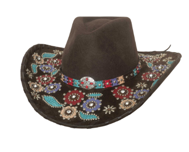 Bullhide Hats 0751CH Decorated Felt Country Love Song Chocolate
