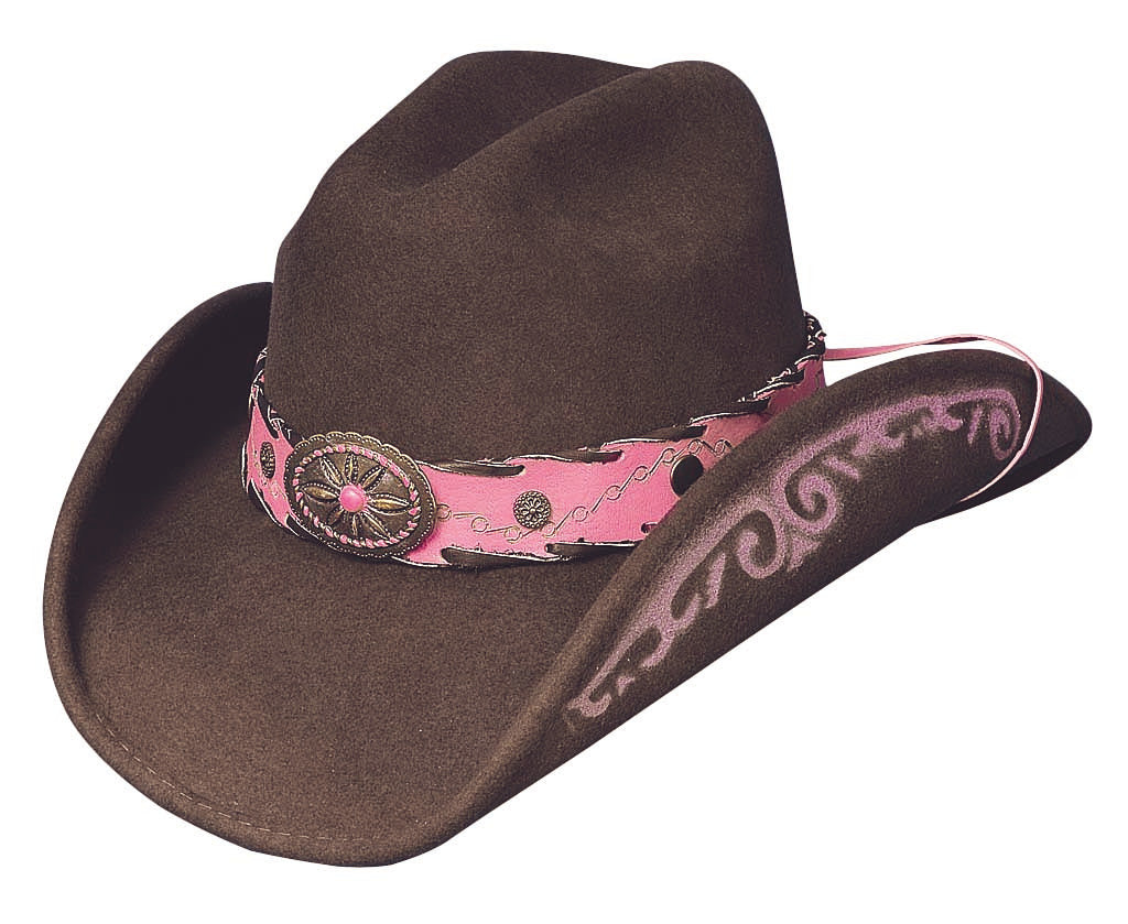 Bullhide Hats 0441CH Decorated Felt Annie Oakley Pink Chocolate