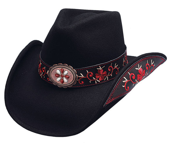 Bullhide Hats 0476 Decorated Fashion Felt Black Red