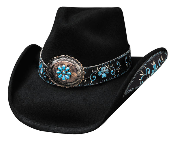 Bullhide Hats 0476BL Decorated Fashion Felt All For Good Black Blue