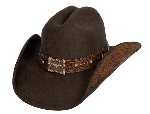 Bullhide Hats 0579CH Decorated Felt Great Divide Chocolate