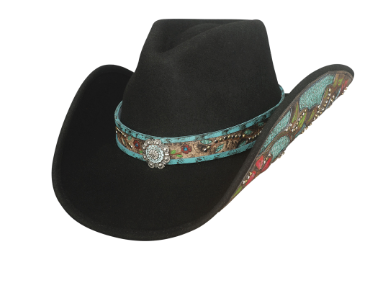 Bullhide Hats 0785BL Decorated Felt Crazy Beautiful Black