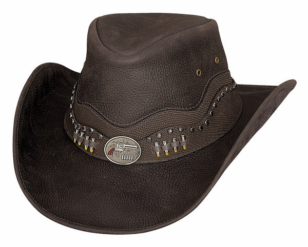 Bullhide Hats Leather Truth of Consequences Chocolate #5004076