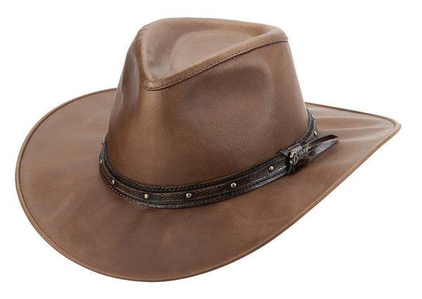 Bullhide Hats Wayfarer Brown Leather Front #5000031