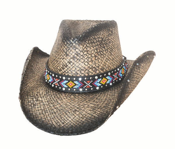 Bullhide Hats Raffia Straw Black Love Myself #5002882B